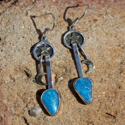 Star and Moon Turquoise Earrings