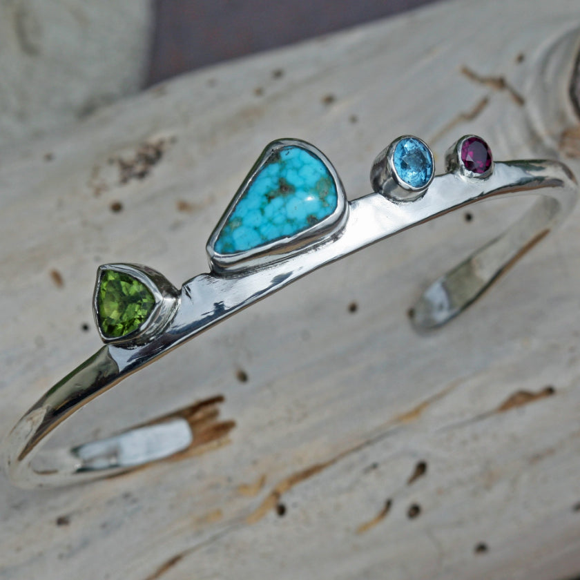 silver multi stone cuff bracelet Turquoise Green Blue Tourmaline Crystal Amethyst Gypsy jewelry