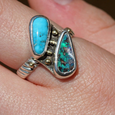 True Love Boulder Opal and Turquoise Ring   Size 8