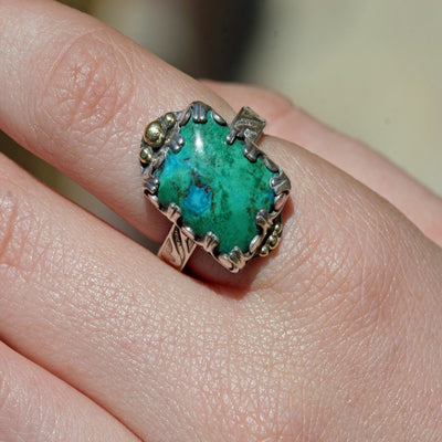 Carico Lake Green Turquoise Ring Size 7 1/2