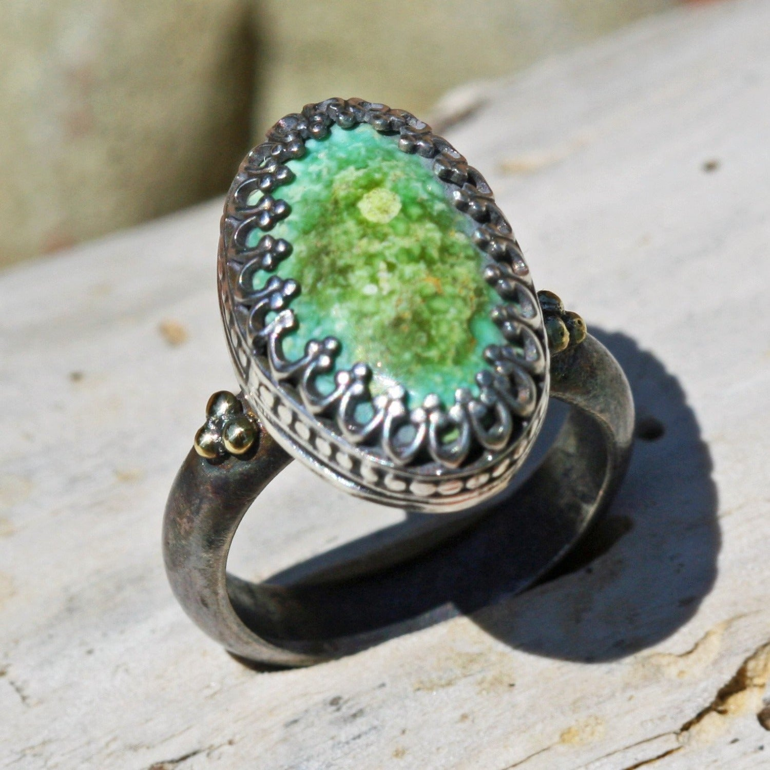 lime green blue turquoise ring granulation oxidized gold boho gypsy jewelry