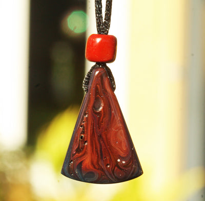 obsidian pendant black red fire flames hand carved boho gypsy festival jewelry