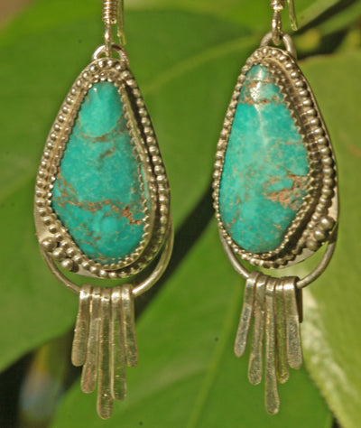 Natural Old Stock Turquoise Earrings, Boho Earrings, Drop Earrings Sterling Silver, Turquoise Dangle Earrings, Jewelry Trends
