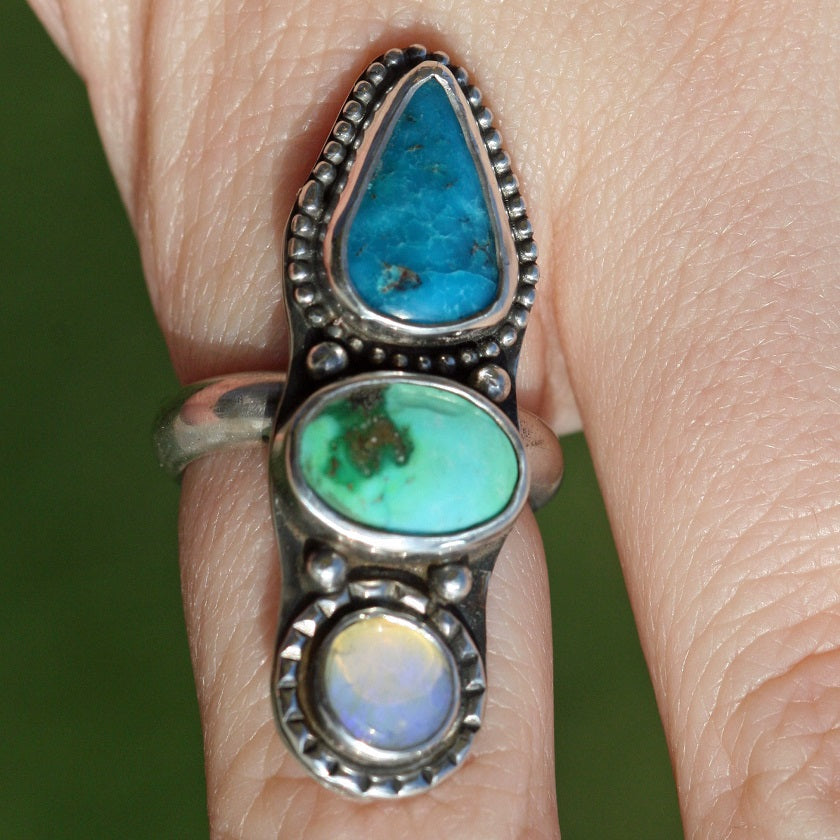 Three Stone Ring - Opal, Green Turquoise, Blue Ridge Turquoise,  Boho Gypsy