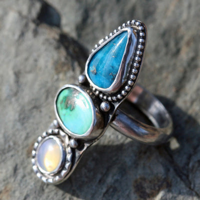 Three Stone Ring - Opal,  Turquoise