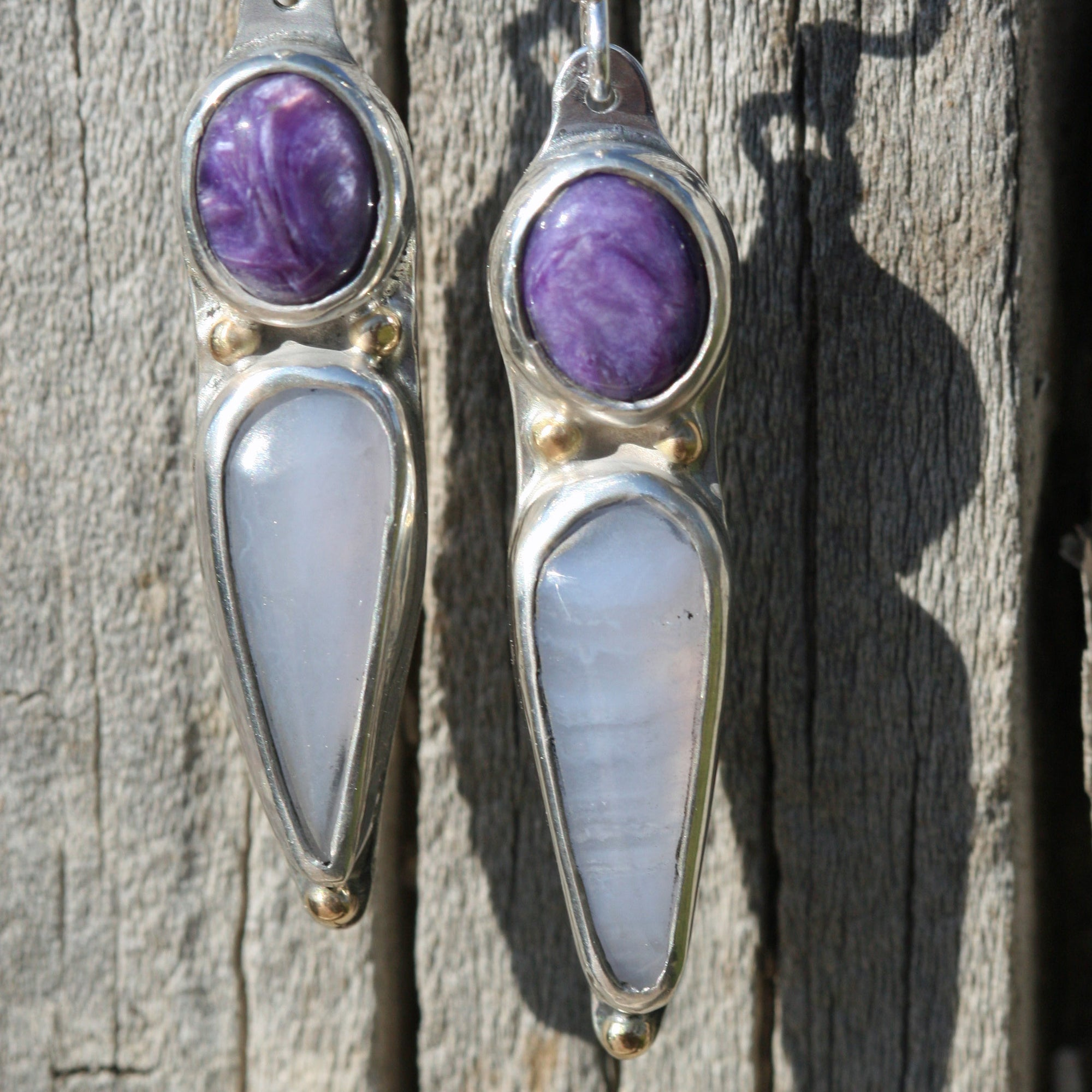 Blue Lace Agate and Charoite  Earrings - Boho Gypsy, Hippie Chic, Spring, Soothing
