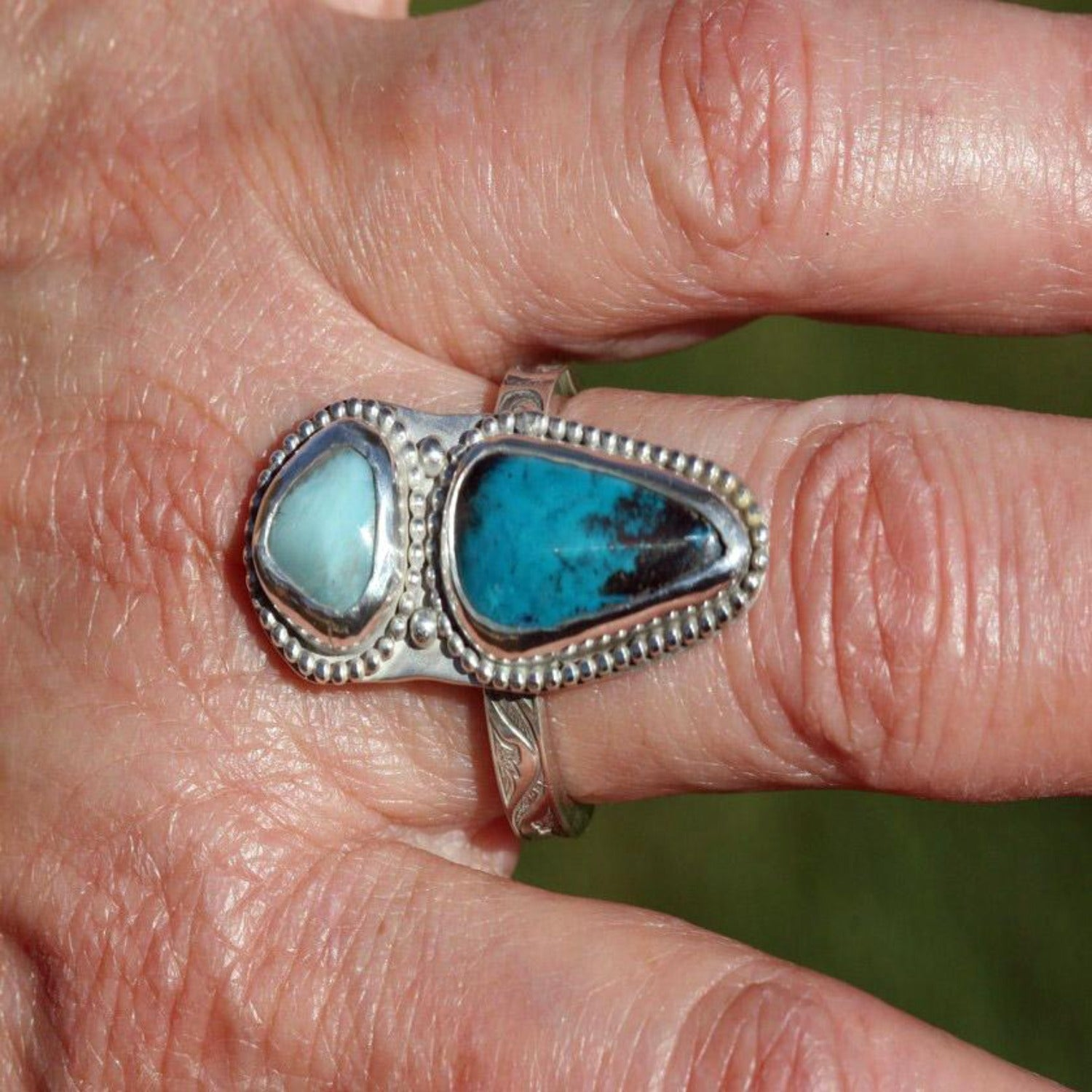 Amazonite And Chrysocolla  Ring - soothing Colors - Size 9 - Boho Southwest