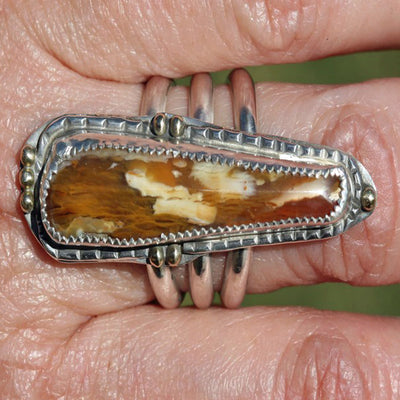 Petrified Wood Long Ring - Sterling With Gold Accents _ Size 8