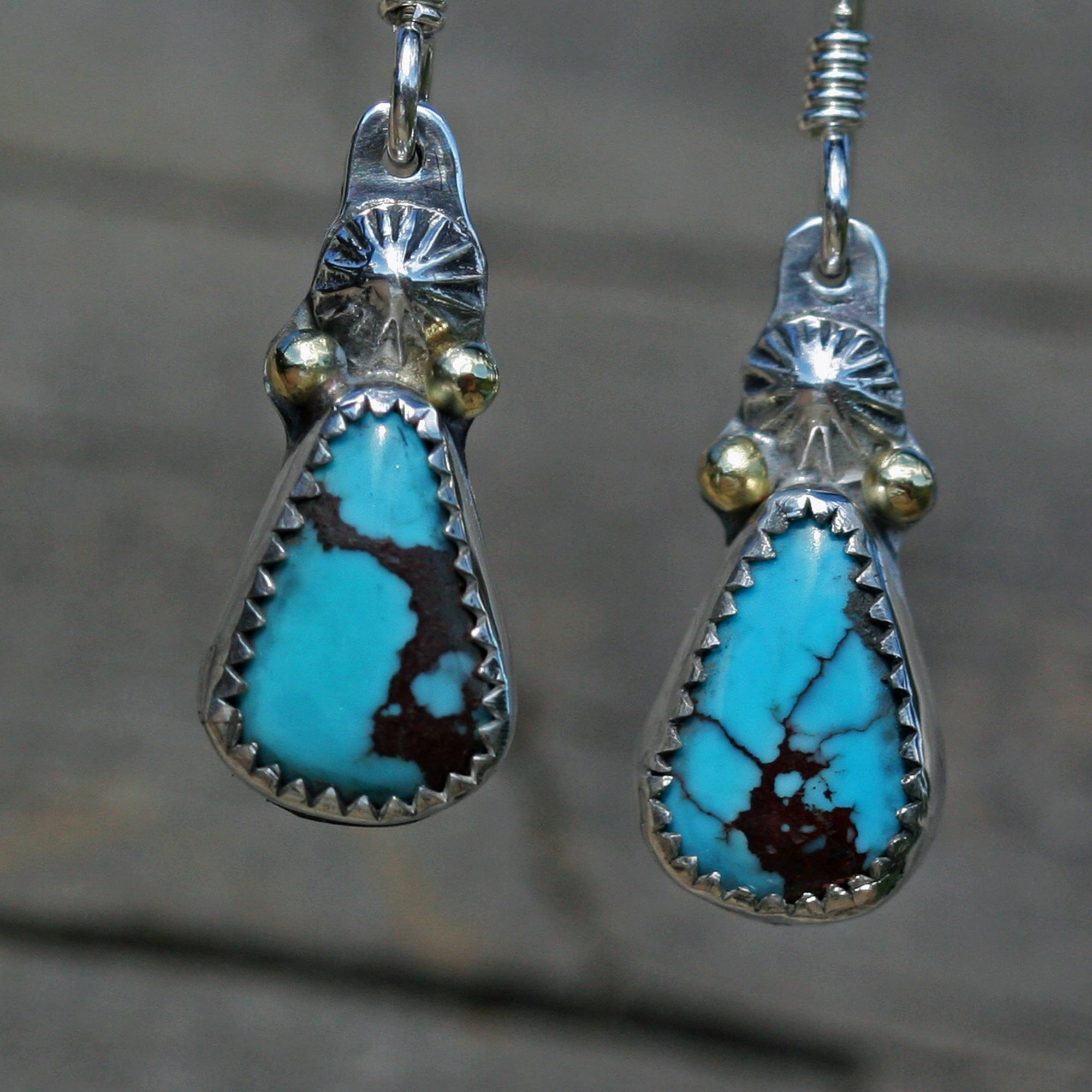 Kingman Blue Turquoise set in Sterling Silver with 18k gold Accents, Boho, Gypsy