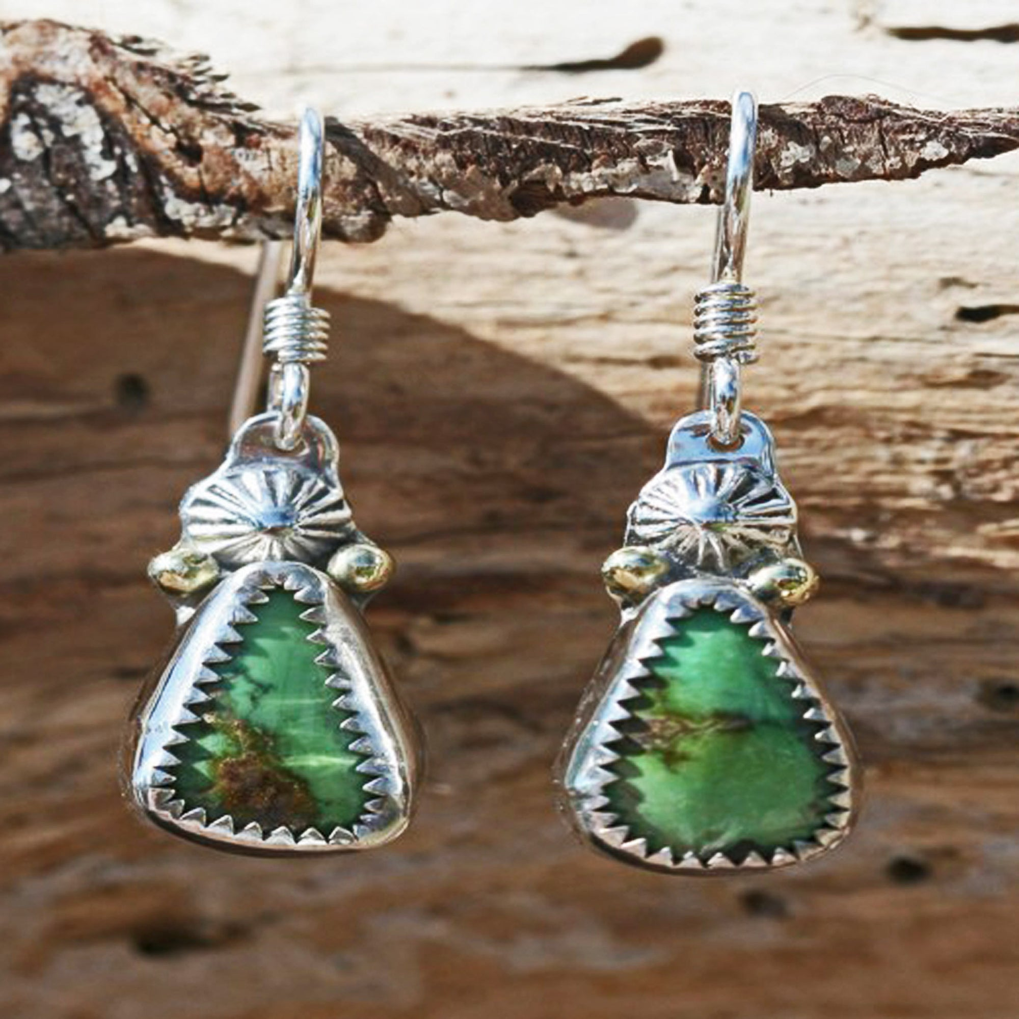 Green Turquoise Earrings - Sterling Silver with 18k Gold Accents - Boho, Southwest, Hearts