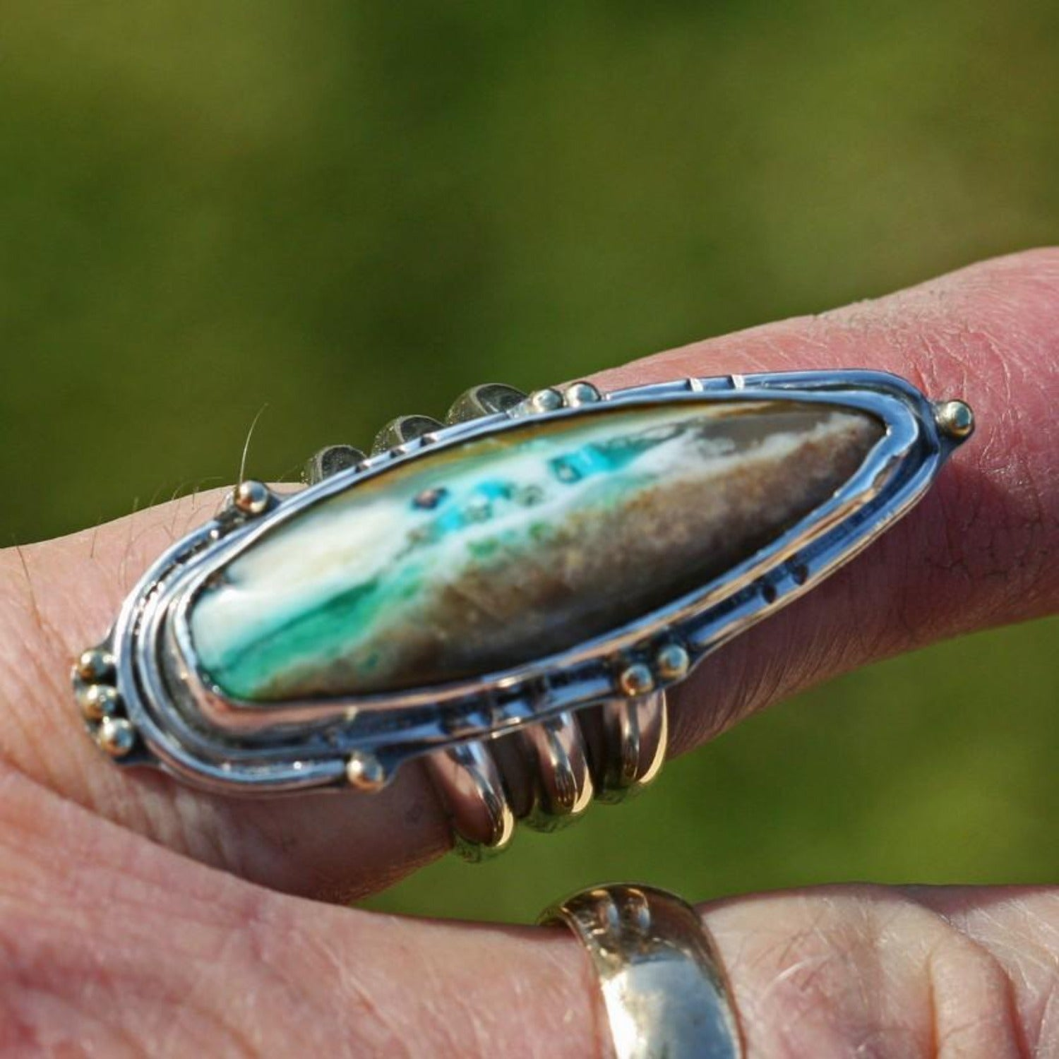 Indonesia Blue Petrified Opal Wood Ring,  Size 8 3/8,    18k Gold Accents, Boho, Gypsy, large