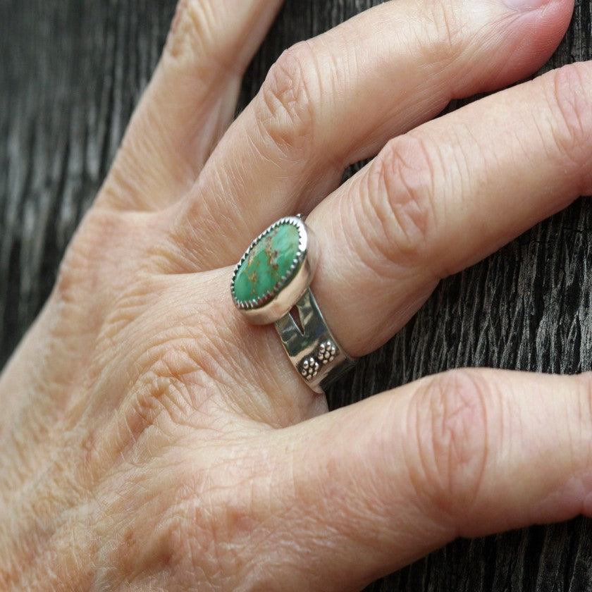 Boho Green Turquoise Sterling Silver Ring - Size 7 1/4 - Gypsy, Bohemian,Hippie