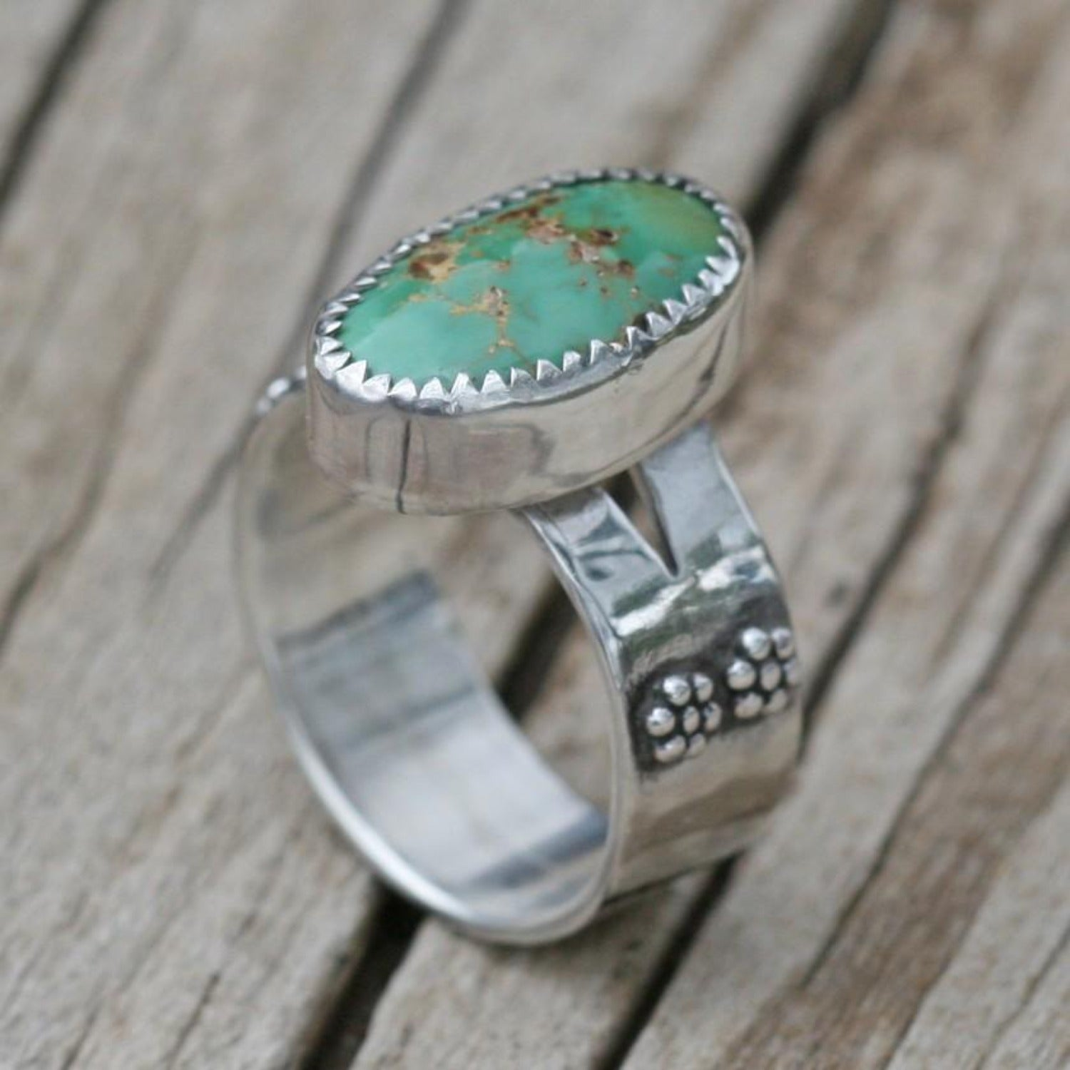 Boho Green Turquoise Sterling Silver Ring - Size 7 1/4