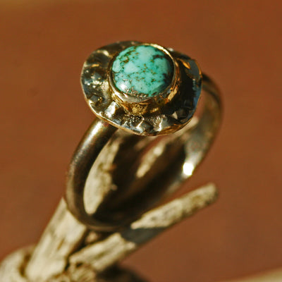 Nevada Turquoise Organic Beauty - Organic Ring With 18k Gold Accents - Size 9,Boho, Bohemian