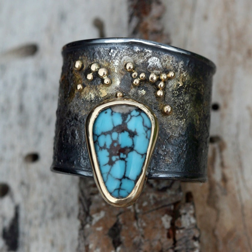 Ring 18k Gold Granulation On Silver, Turquoise Stone, Size 8