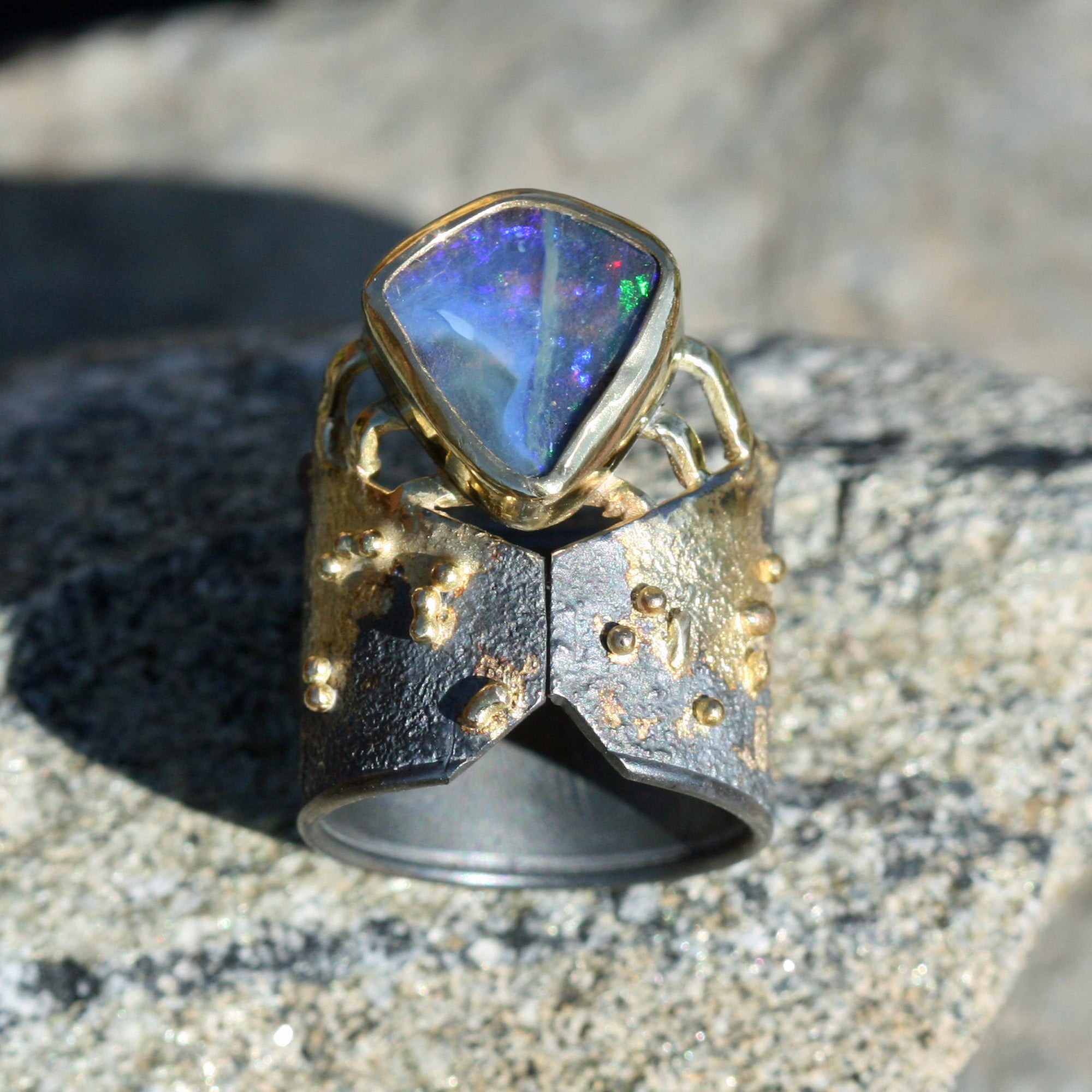 enameled in blue gray. Ring in real raw volcanic ash from Etna