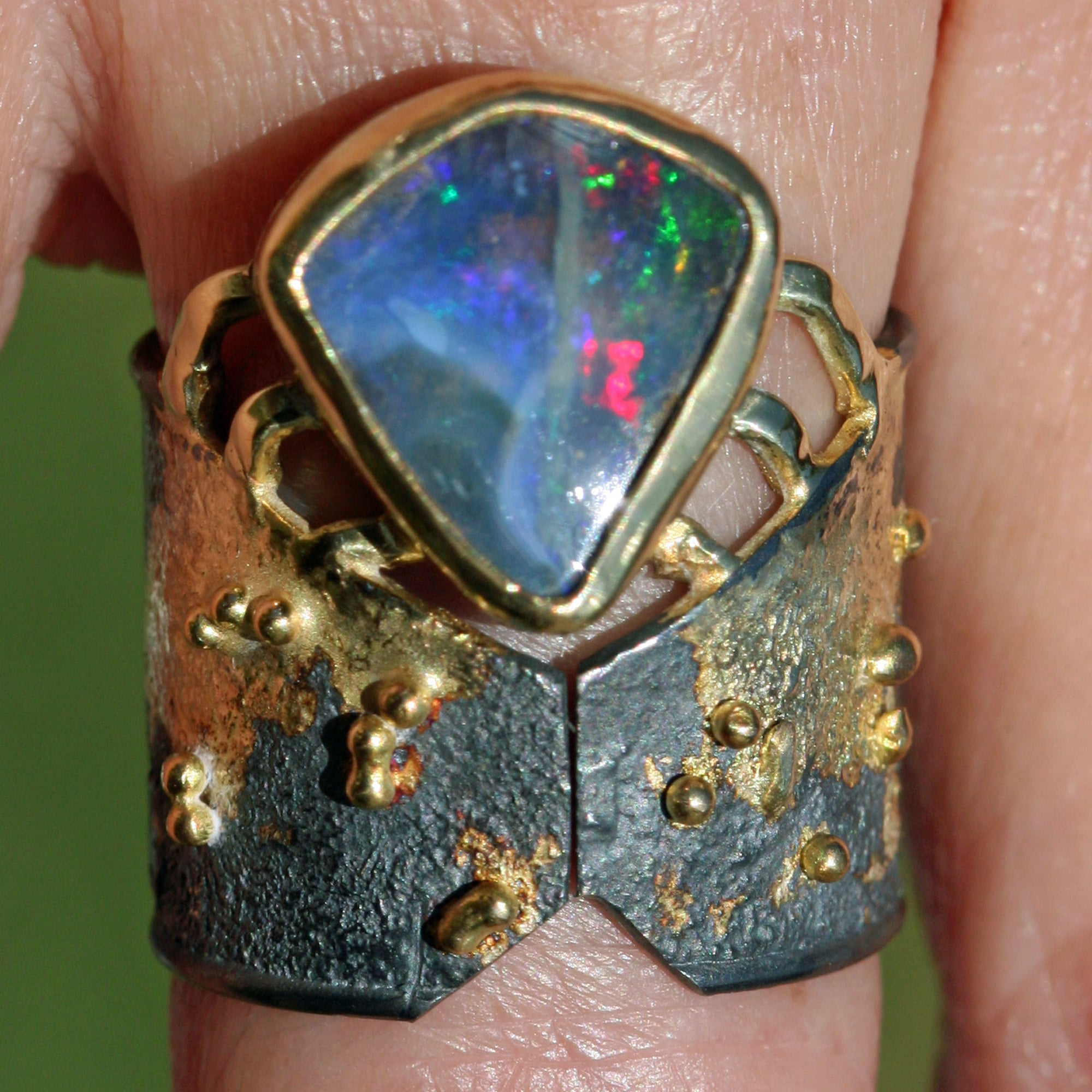 Volcano Fire Ring - Australian Boulder Opal,   18k Gold on Oxidized Sterling Silver -Size 7