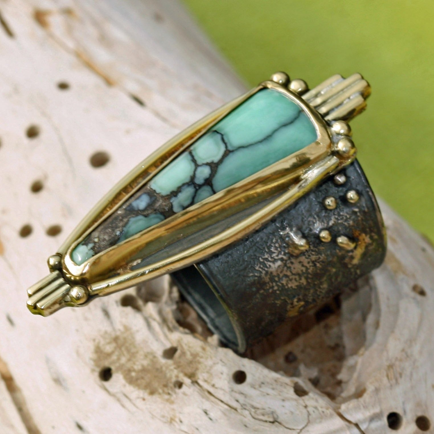 Nevada Variscite Ring - 18K Gold and Oxidized Sterling Silver  - Size 7 1/4