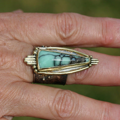 Nevada Variscite, Modern High Priestess Ring - 7 1/4
