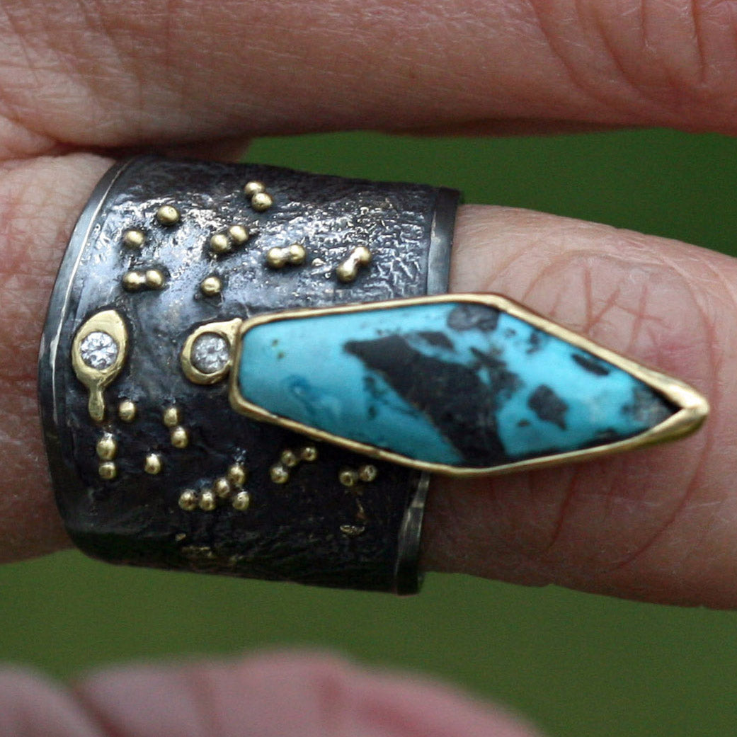 Turquoise Ring, 18k Gold fusion on oxidized sterling silver - Size 10 - Boho jewelry, Gypsy
