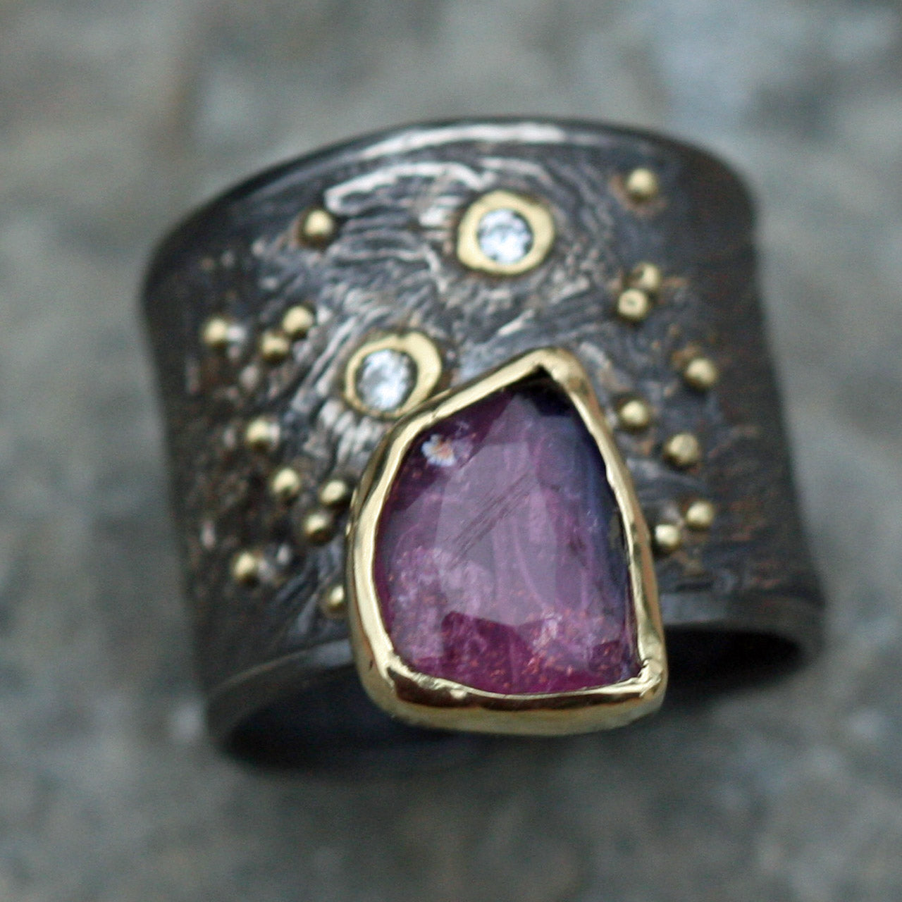 Fused gold on oxidized sterling silver, pink tourmaline set in 18k gold ring - size 71/2