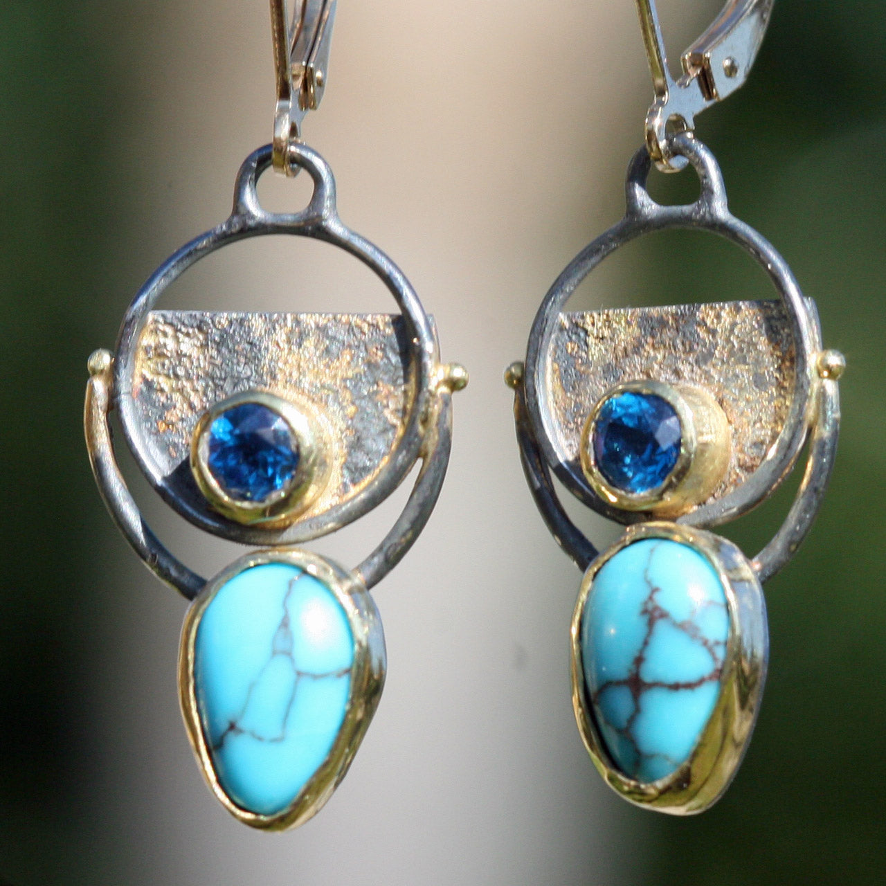 Earrings For The Modern High Priestess -Blue Topaz and Kingman Turquoise - Oxidized Sterling and 18k Gold