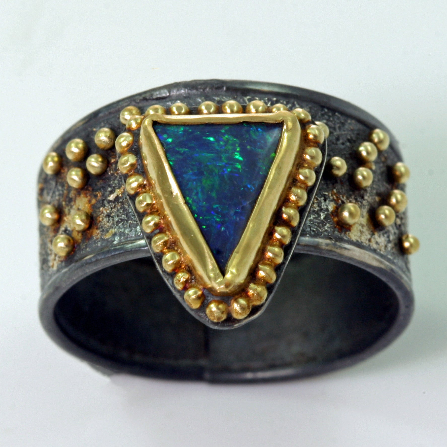Once In A Blue Moon Ring - Boulder Opal - 18k Gold  - Size 8.5
