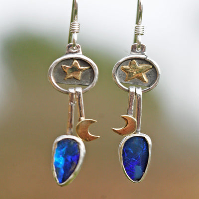 dangle earrings Texas star blue Opal sterling silver hippie Boho jewelry