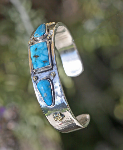 cuff bracelet turquoise gold granulation sterling silver Indian jewelry