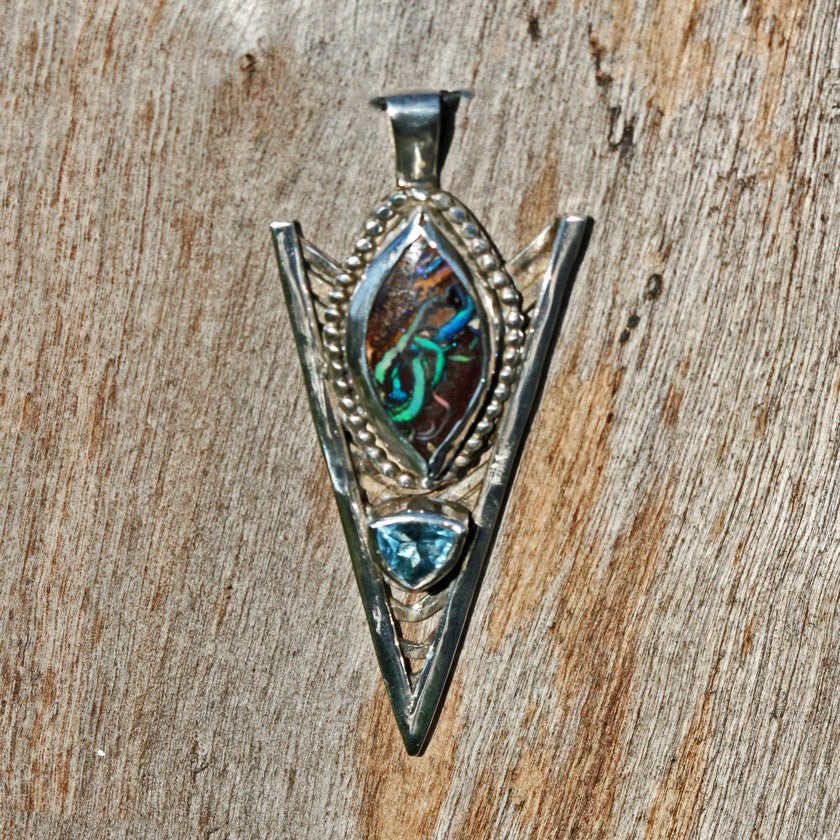 boulder opal pendant jewelry edgy boho sterling silver