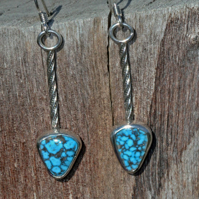 dangle turquoise earrings simple sterling silver handmade boho gypsy festival fashion