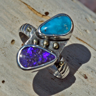 Purple Opal Turquoise ring gold granulation sterling silver Boho jewelry