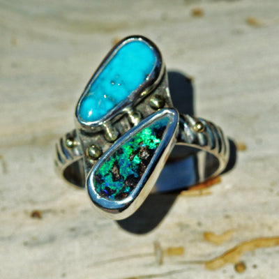 ring boulder opal turquoise gold granulation sterling silver Boho Jewelry