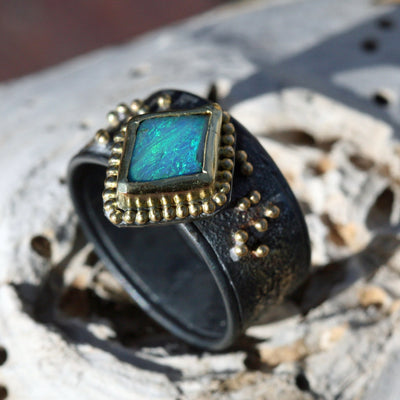 Blue Sunrise, Natural Black Opal  Set In 18k Gold, Oxidized Sterling- Size 8 1/2