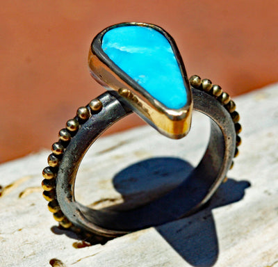 18 ct  gold granulation oxidized sterling silver turquoise ring jewelry