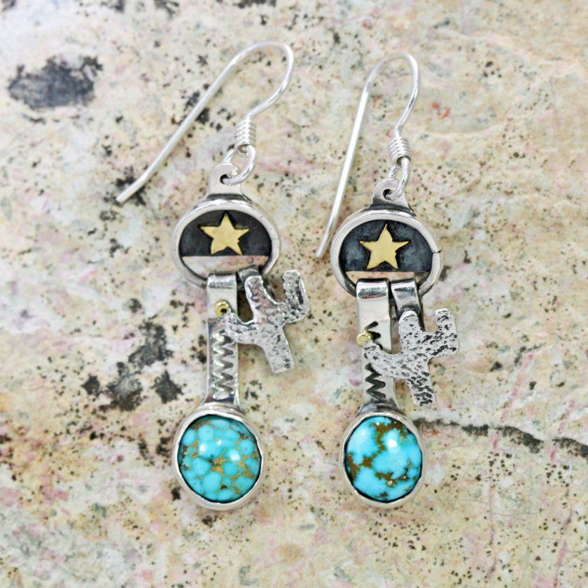 turquoise dangle earrings texas star cactus turquoise sterling silver cow girl
