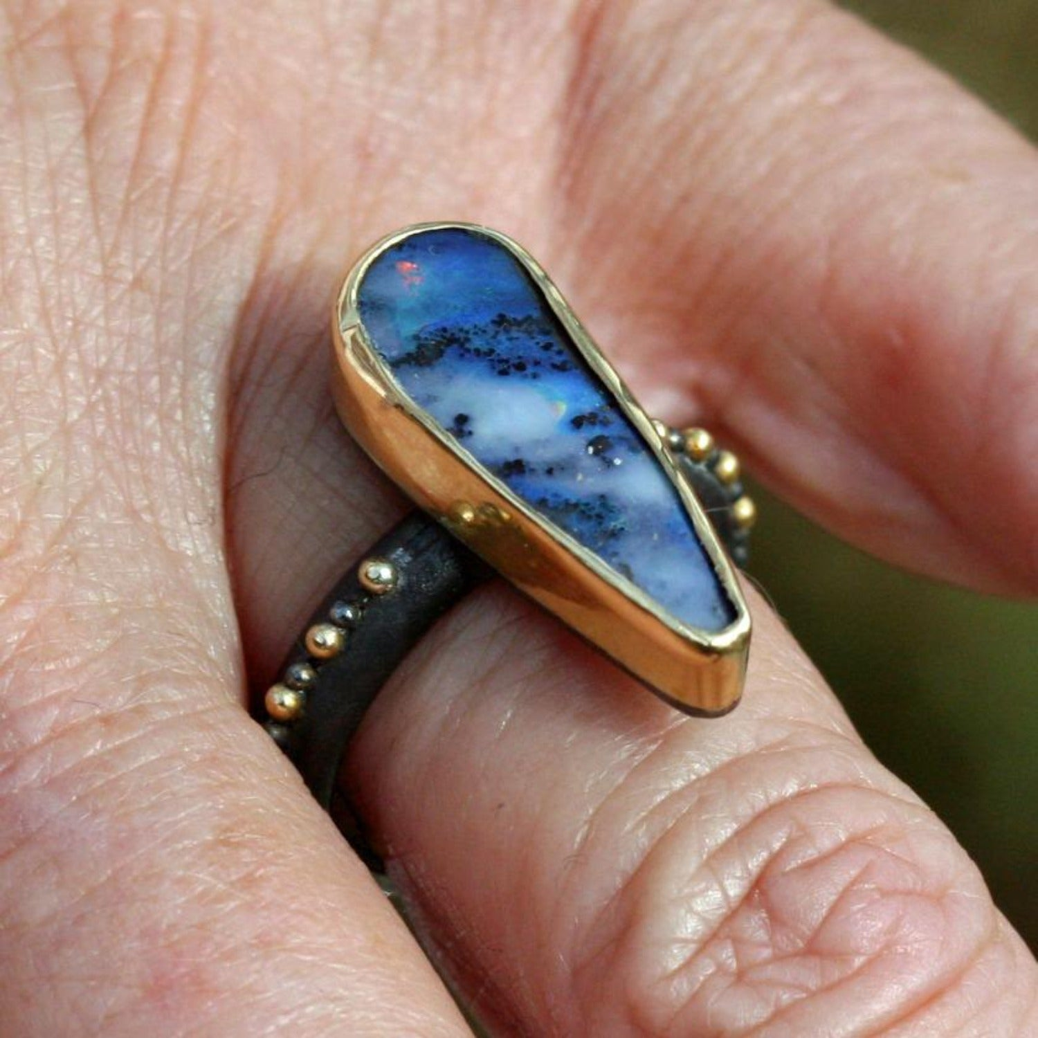 Dark Sky Blue Boulder Opal Ring - Size 71/2-18k Gold on Sterling Silver - Boho, Australian Opal, Granulation