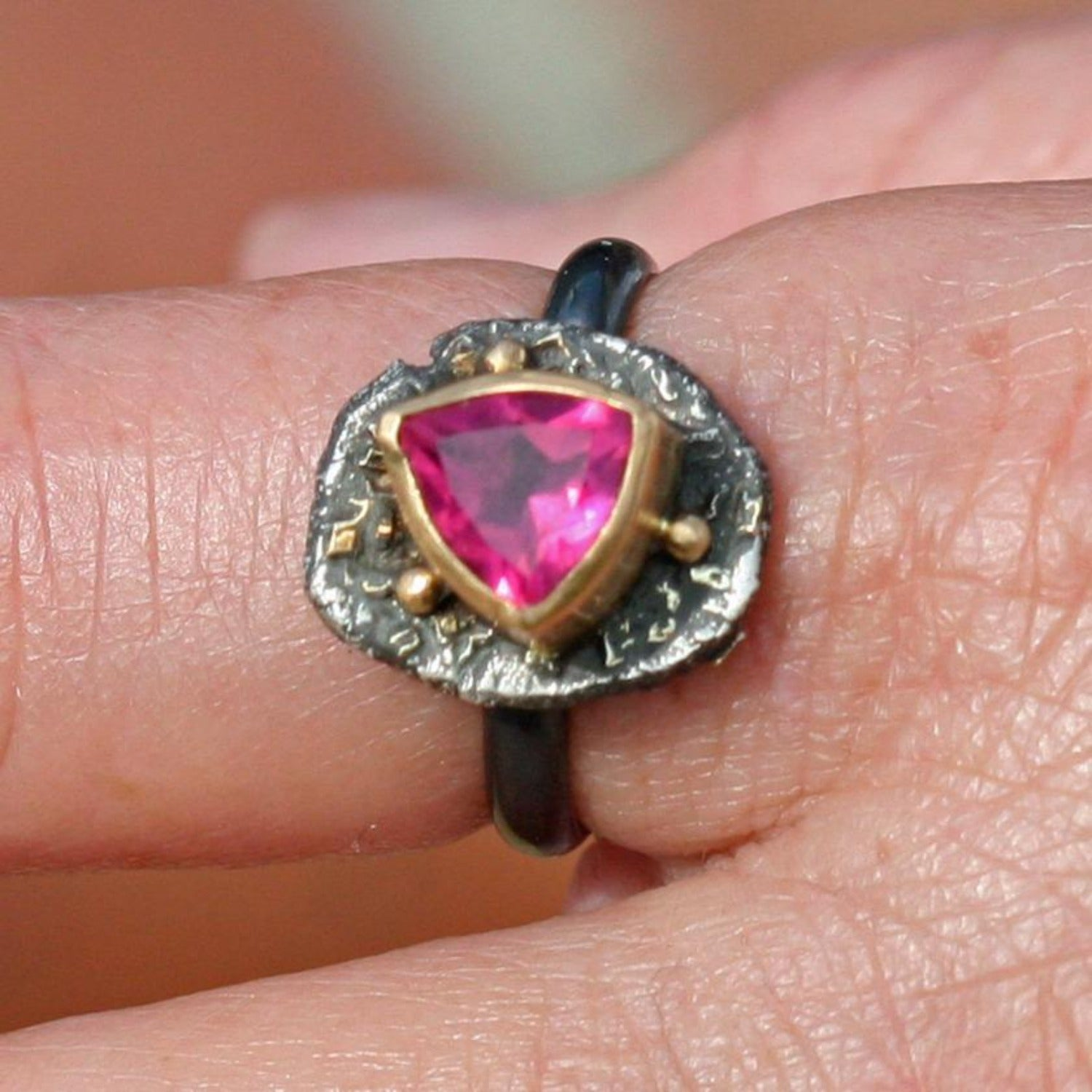 Pink Tourmaline Organic Ring - Size 8- 18k Gold And Sterling Silver