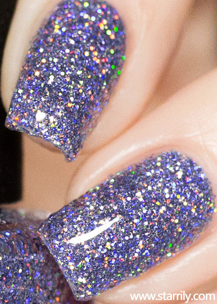 Damsel nail polish contains extra sparkly lilac light purple holographic glitter