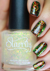 Alchemy has beautiful color shifting red, orange and green, iridescent flakes