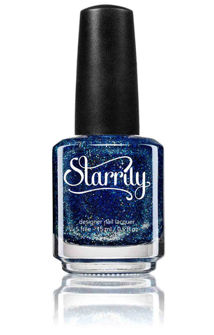 Bioluminescence is a sparkly sapphire blue jelly nail polish with silver holographic glitter