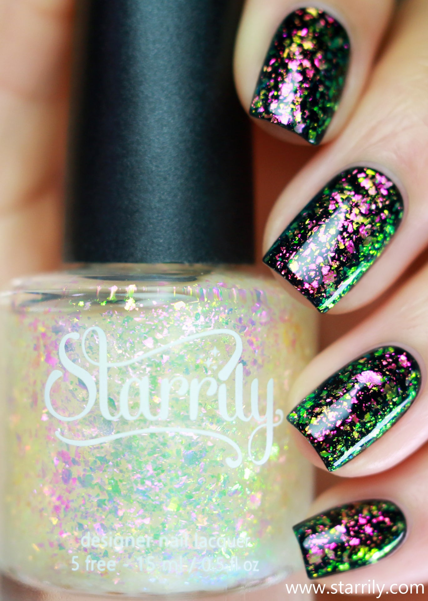 Enchanted is an enchanting colorshifting iridescent topper with magical flakes