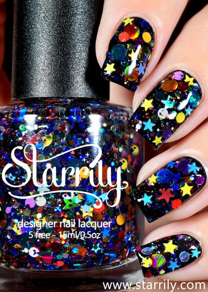 Galaxy contains colorful glitter in a clear base, instant galaxy manicure