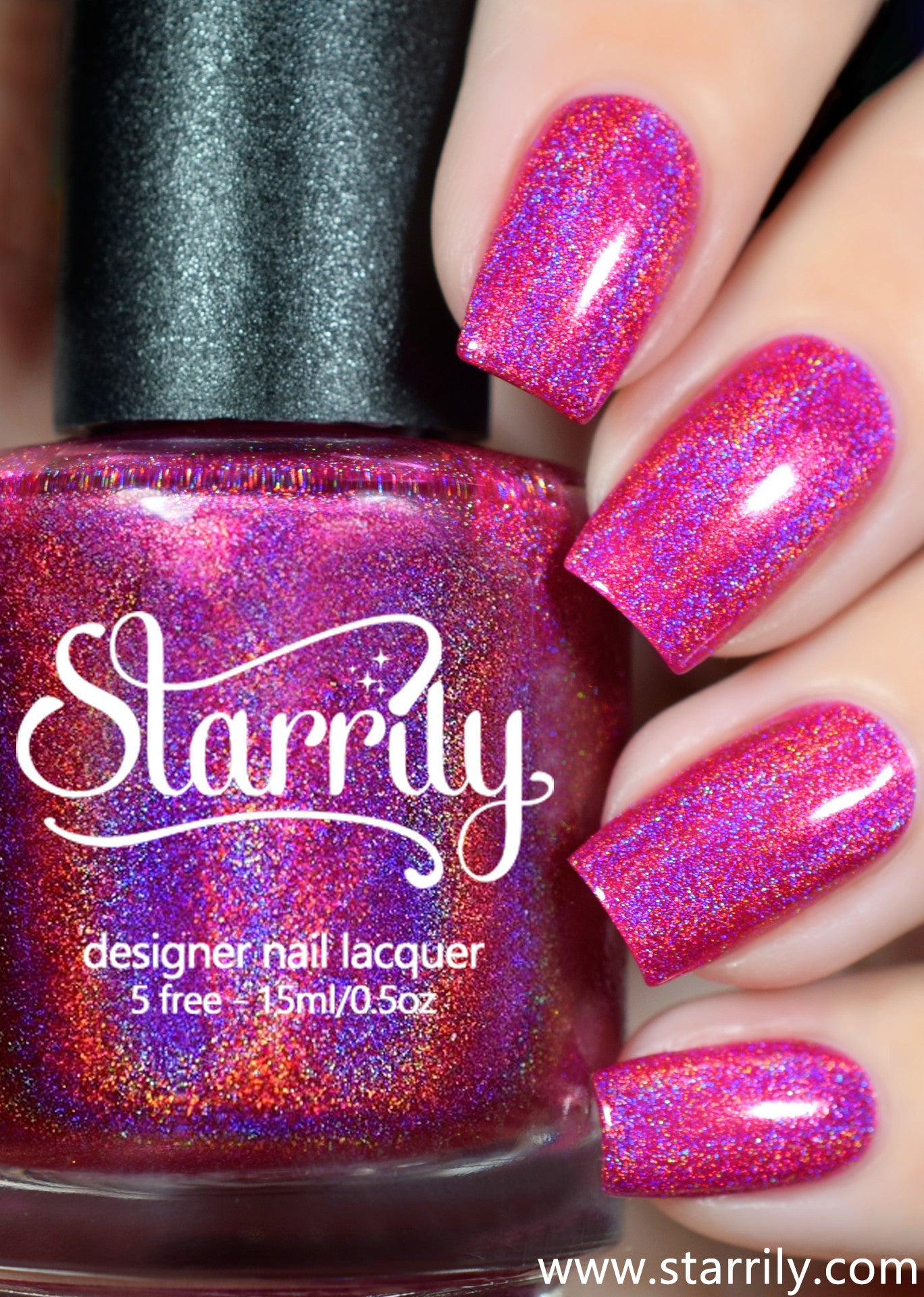 Gamma Ray is a beautiful hot pink linear holographic nail polish