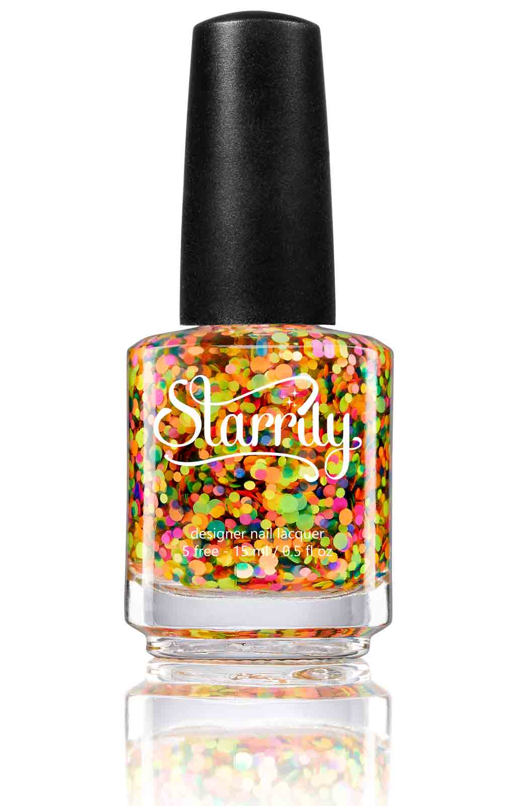 Gumballs has colorful bright neon glitter in a clear base