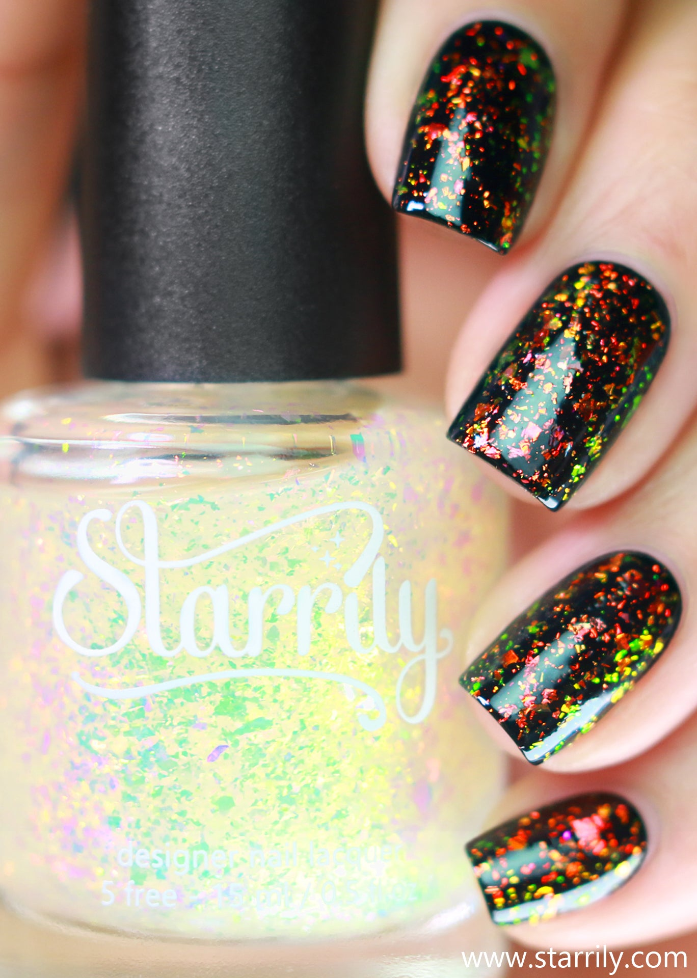 Occult is a unique multichrome iridescent flake topper that shifts from orange and green
