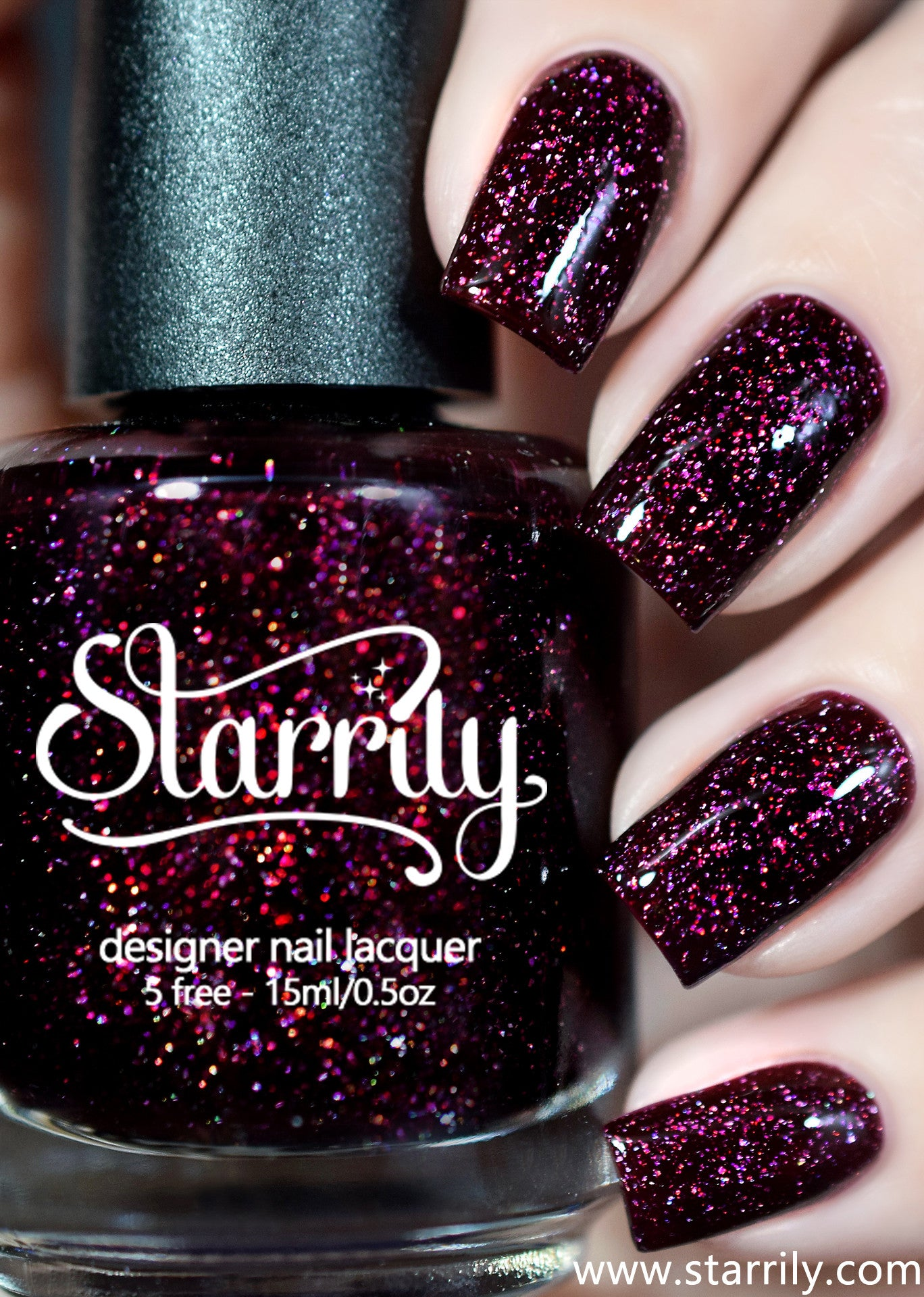 Starrily Oxytocin - Dark Red Holographic Flake Nail Polish - 15 ml