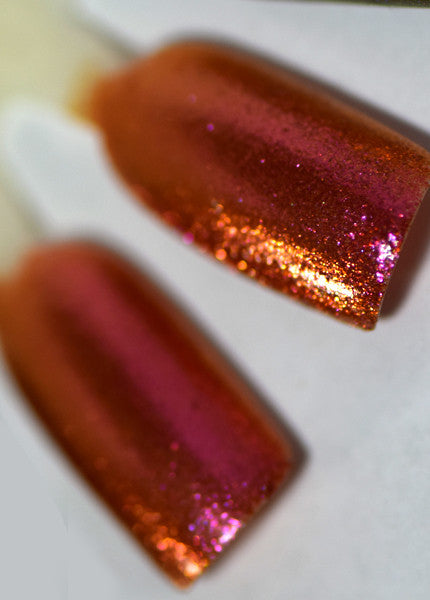 Sunset Boulevard is an amazing colorshifting nail polish with red and orange flakes