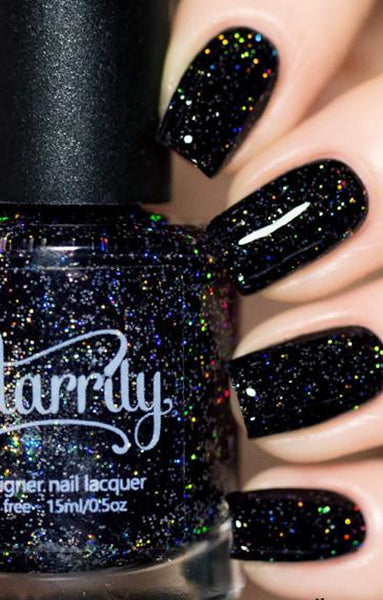 Starrily Neutrino Black Glitter Holographic Nail Polish 15 Ml