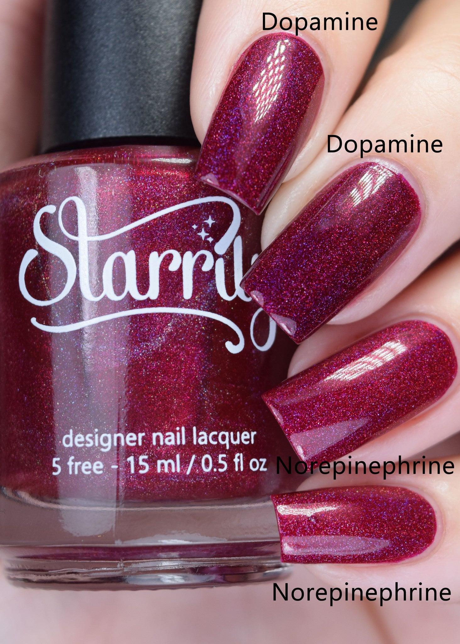 Norepinephrine is a beautiful ruby red jelly linear holographic nail polish